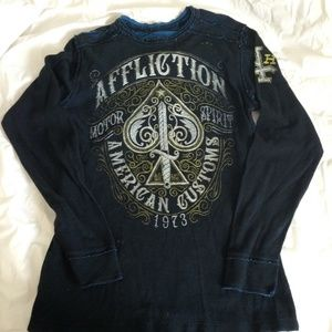 Affliction long sleeve tee black with graphic Xl
